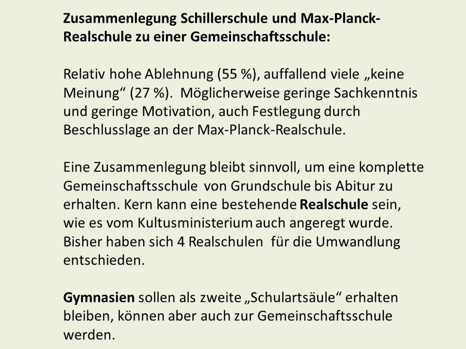 Zusammenlegung Schillerschule und Max-Planck-Realschule zu einer Gemeinschaftsschule: