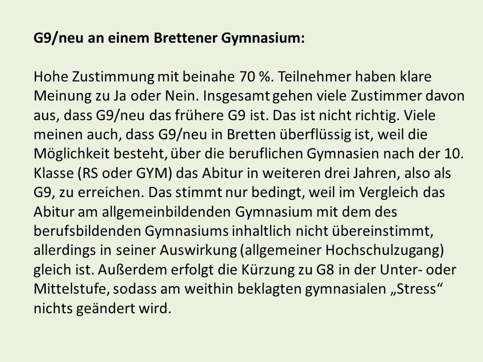 G9/neu an einem Brettener Gymnasium: