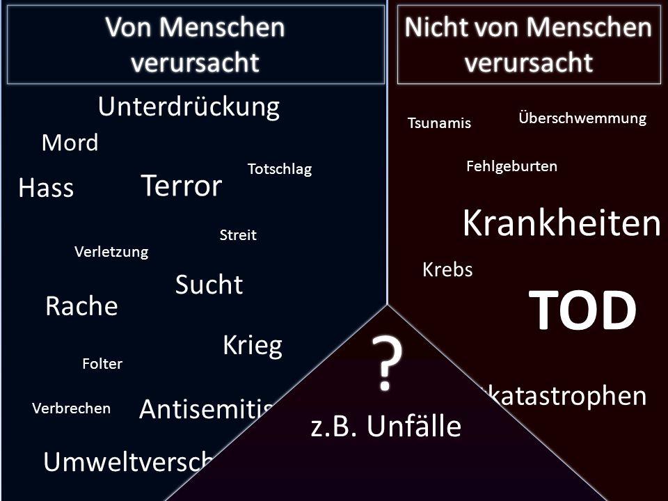 TOD Krankheiten Theodizee Terror z.B. Unfälle Von Menschen