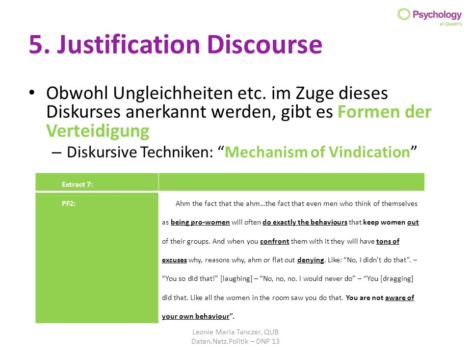 5. Justification Discourse