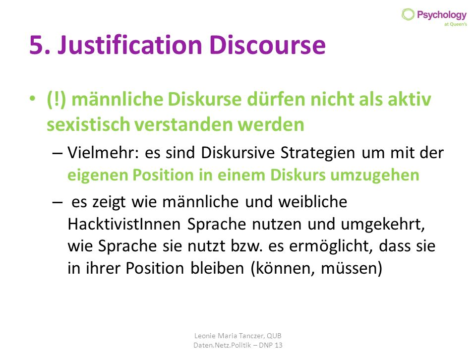 5. Justification Discourse