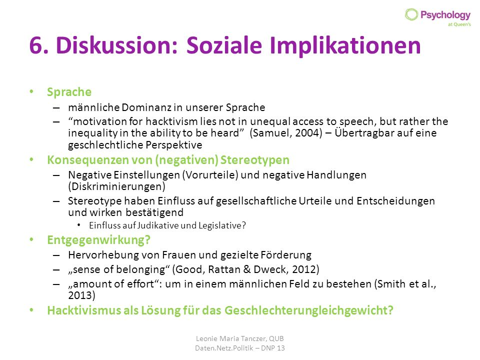 6. Diskussion: Soziale Implikationen