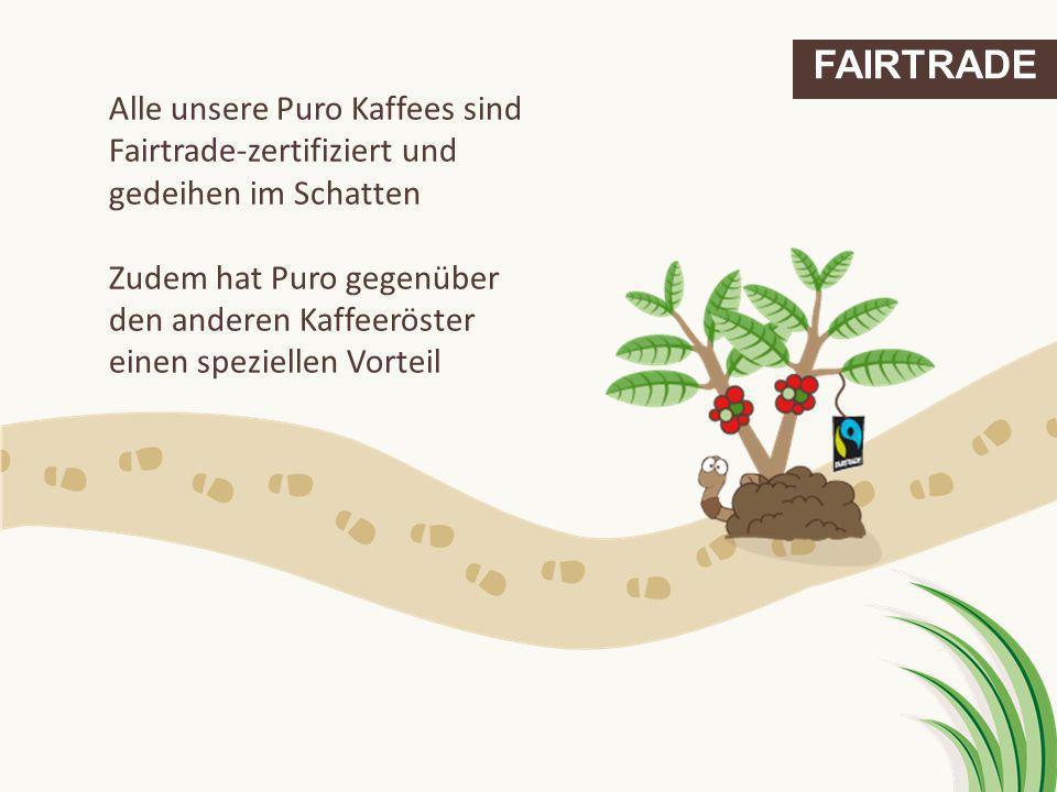 FAIRTRADE Alle unsere Puro Kaffees sind Fairtrade-zertifiziert und gedeihen im Schatten.