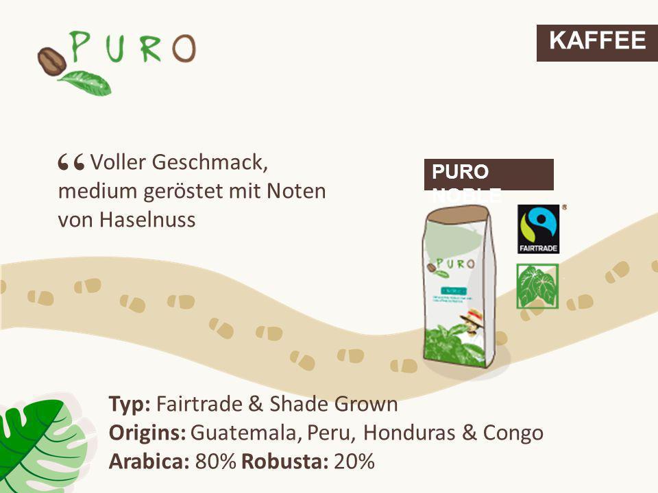 KAFFEE Voller Geschmack, medium geröstet mit Noten von Haselnuss