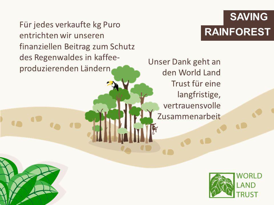 SAVING Für jedes verkaufte kg Puro entrichten wir unseren finanziellen Beitrag zum Schutz des Regenwaldes in kaffee-produzierenden Ländern.