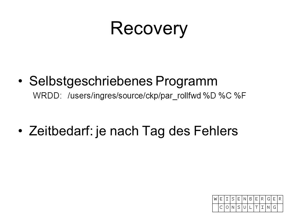 Recovery Selbstgeschriebenes Programm