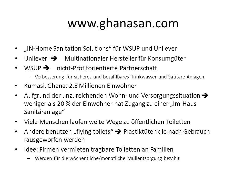 """www.ghanasan.com """"IN-Home Sanitation Solutions für WSUP und Unilever"""