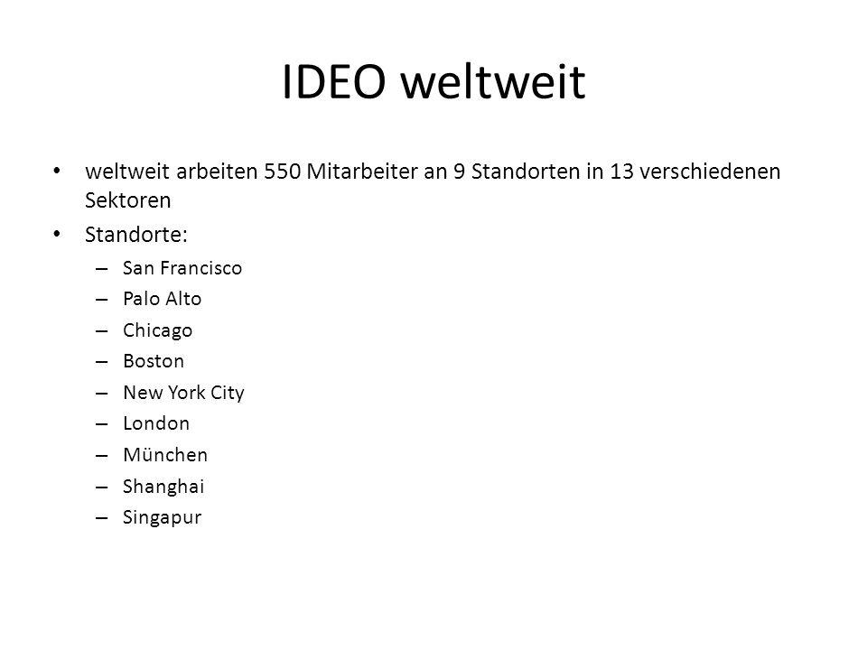 IDEO weltweit weltweit arbeiten 550 Mitarbeiter an 9 Standorten in 13 verschiedenen Sektoren. Standorte: