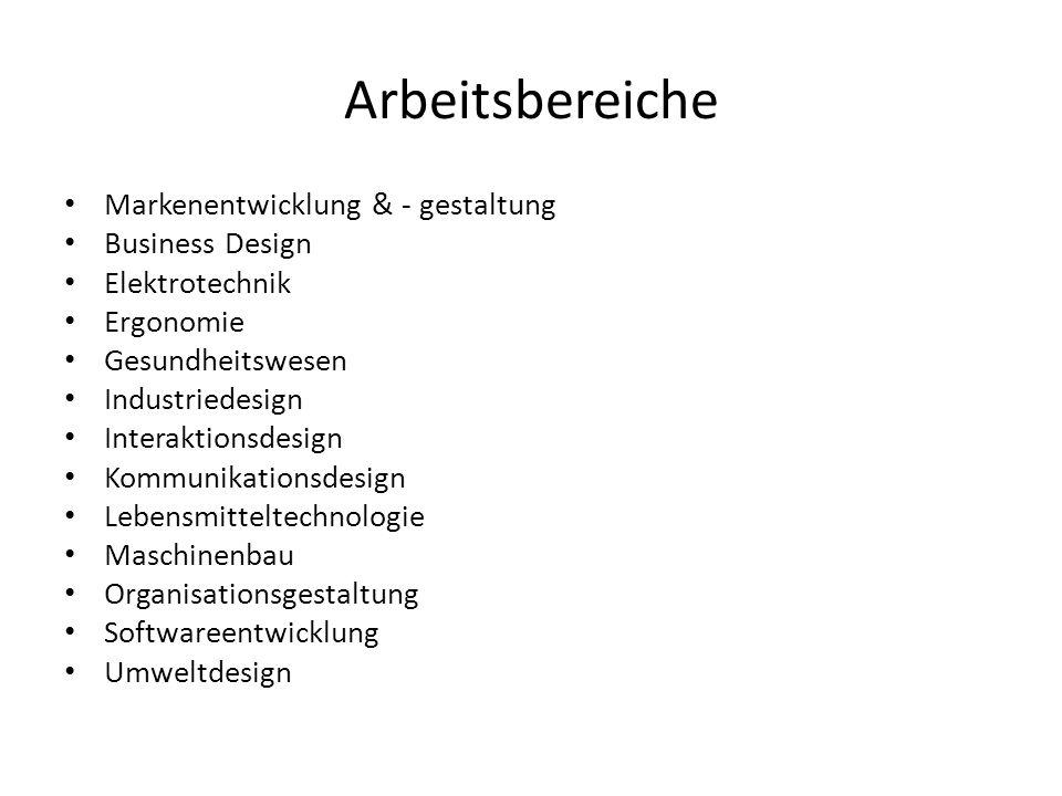 Arbeitsbereiche Markenentwicklung & - gestaltung Business Design
