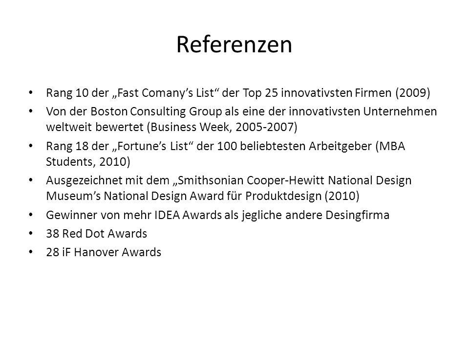 """Referenzen Rang 10 der """"Fast Comany's List der Top 25 innovativsten Firmen (2009)"""