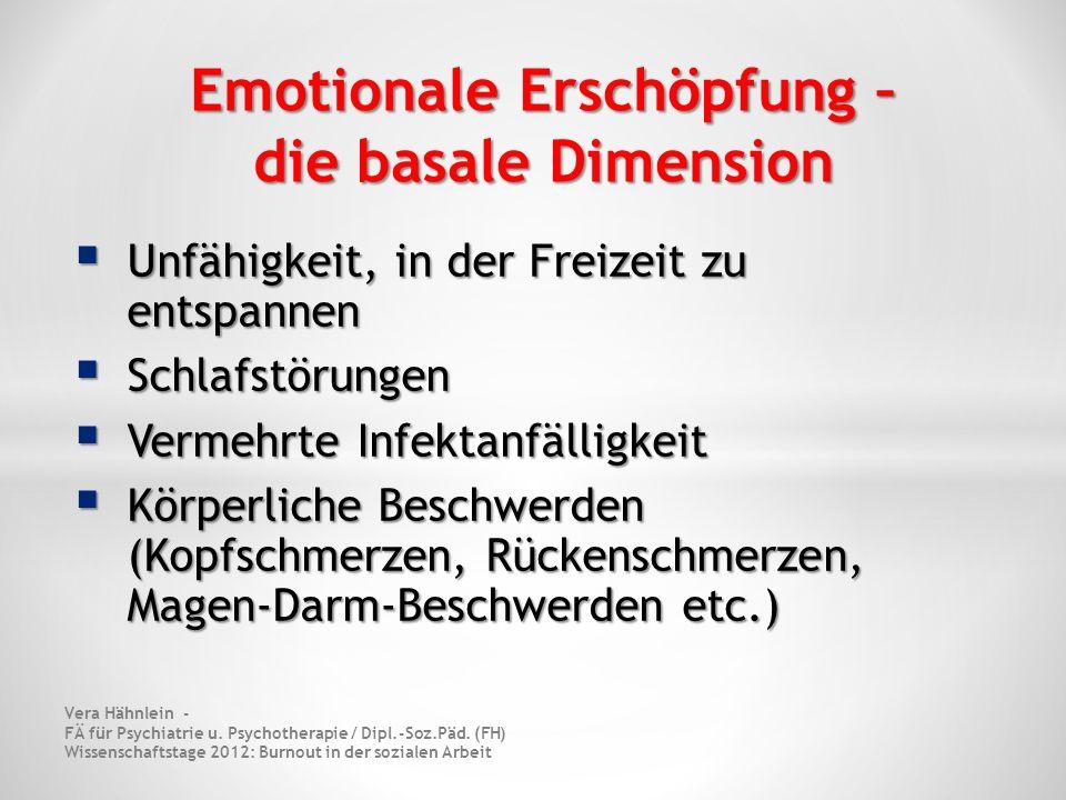 Emotionale Erschöpfung – die basale Dimension