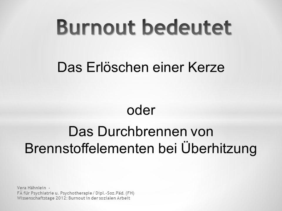 Burnout bedeutet Das Erlöschen einer Kerze oder