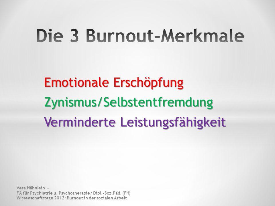 Die 3 Burnout-Merkmale Emotionale Erschöpfung