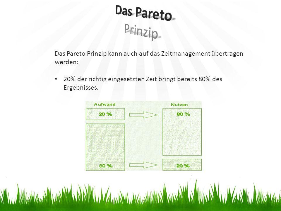 Das Pareto Prinzip Das Pareto Prinzip kann auch auf das Zeitmanagement übertragen werden: