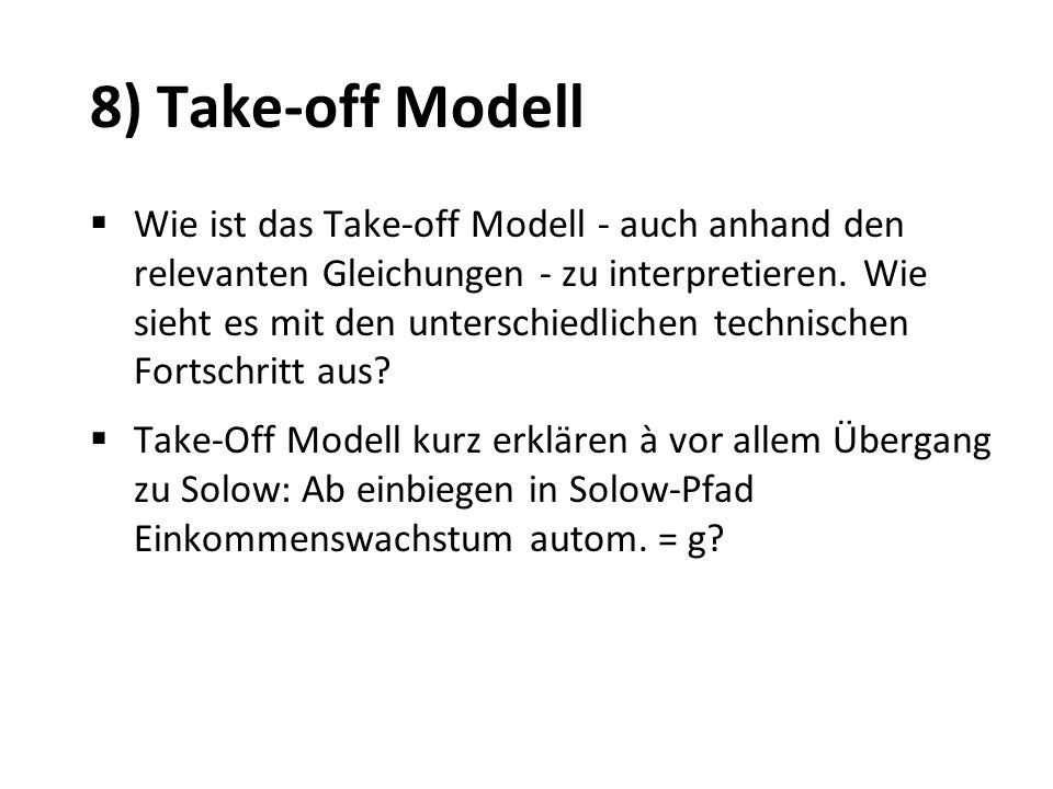 8) Take-off Modell