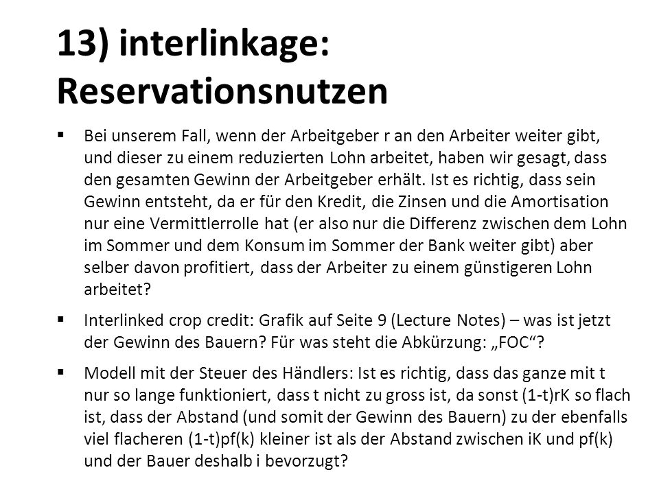 13) interlinkage: Reservationsnutzen