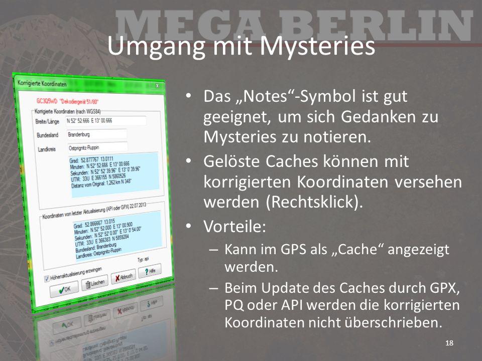 """Umgang mit Mysteries Das """"Notes -Symbol ist gut geeignet, um sich Gedanken zu Mysteries zu notieren."""