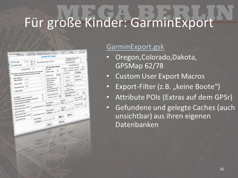 Für große Kinder: GarminExport