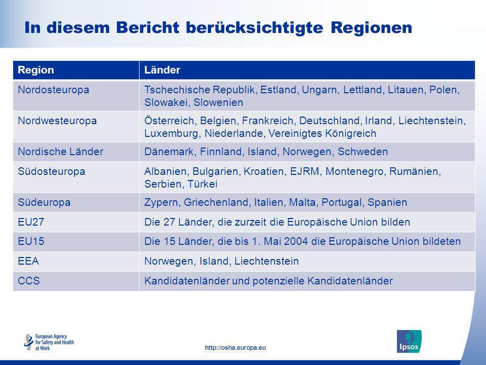In diesem Bericht berücksichtigte Regionen