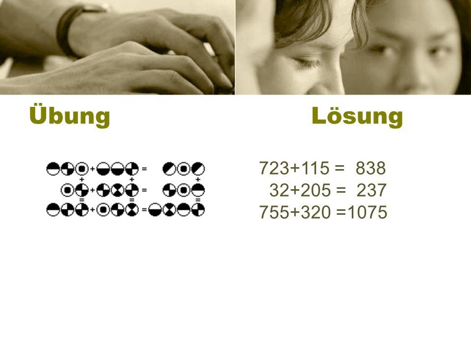 Übung Lösung 723+115 = 838 32+205 = 237 755+320 =1075