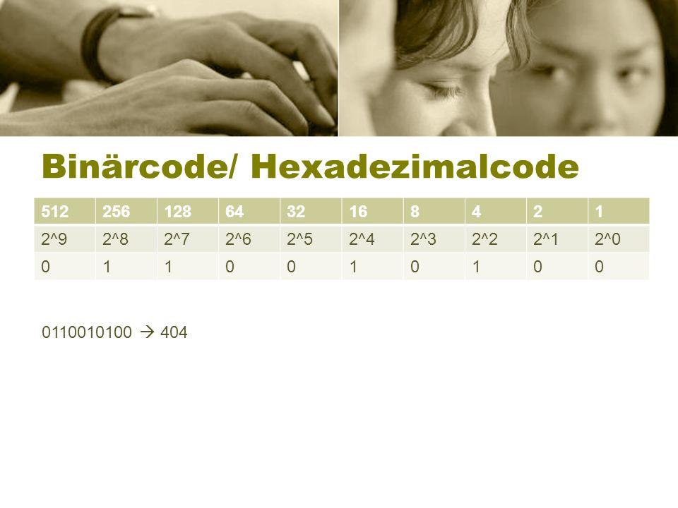 Binärcode/ Hexadezimalcode