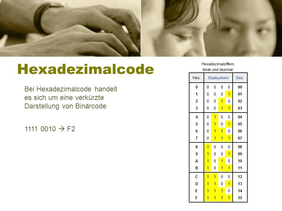 Hexadezimalcode Bei Hexadezimalcode handelt es sich um eine verkürzte Darstellung von Binärcode.