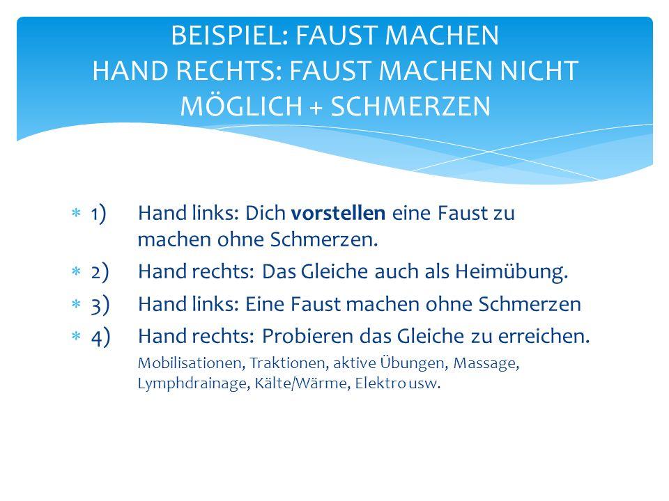 BEISPIEL: FAUST MACHEN HAND RECHTS: FAUST MACHEN NICHT MÖGLICH + SCHMERZEN