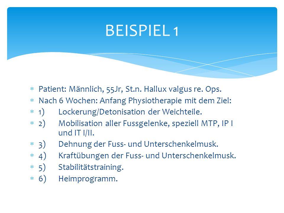 BEISPIEL 1 Patient: Männlich, 55Jr, St.n. Hallux valgus re. Ops.