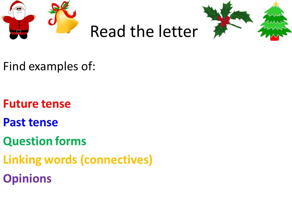 Read the letter Find examples of: Future tense Past tense Question forms Linking words (connectives) Opinions