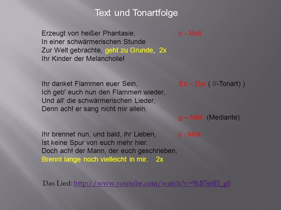 Text und Tonartfolge Erzeugt von heißer Phantasie, c - Moll