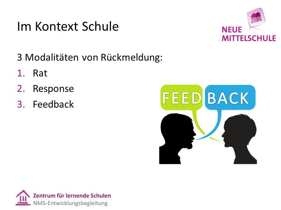 Im Kontext Schule 3 Modalitäten von Rückmeldung: Rat Response Feedback