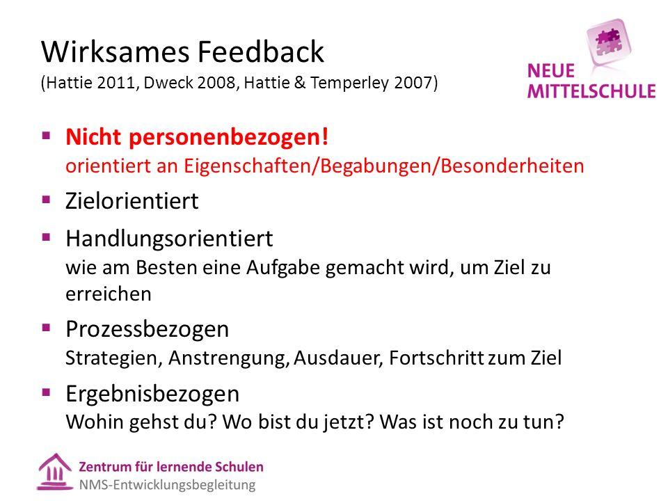 Wirksames Feedback (Hattie 2011, Dweck 2008, Hattie & Temperley 2007)