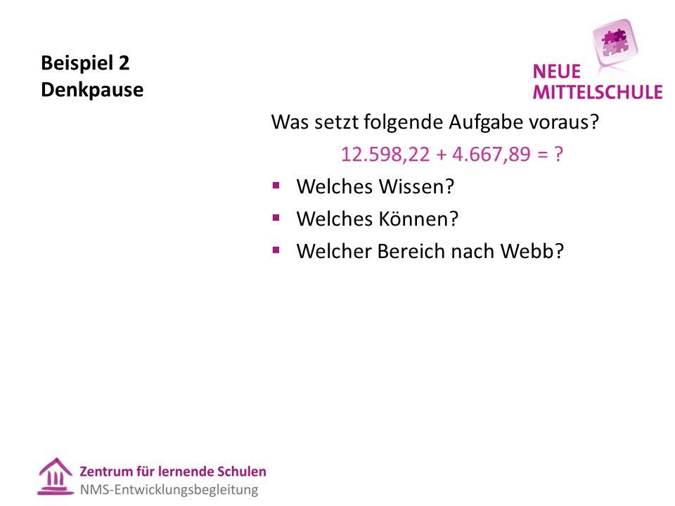 Beispiel 2 Denkpause Was setzt folgende Aufgabe voraus 12.598,22 + 4.667,89 = Welches Wissen Welches Können