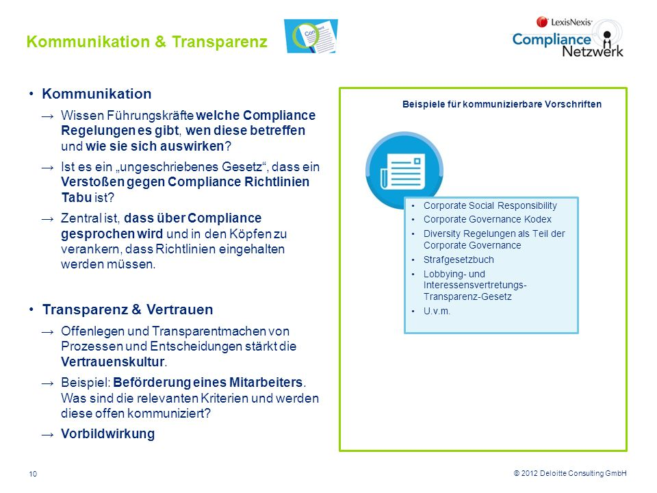 Kommunikation & Transparenz