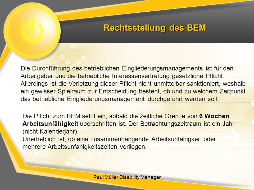 Rechtsstellung des BEM
