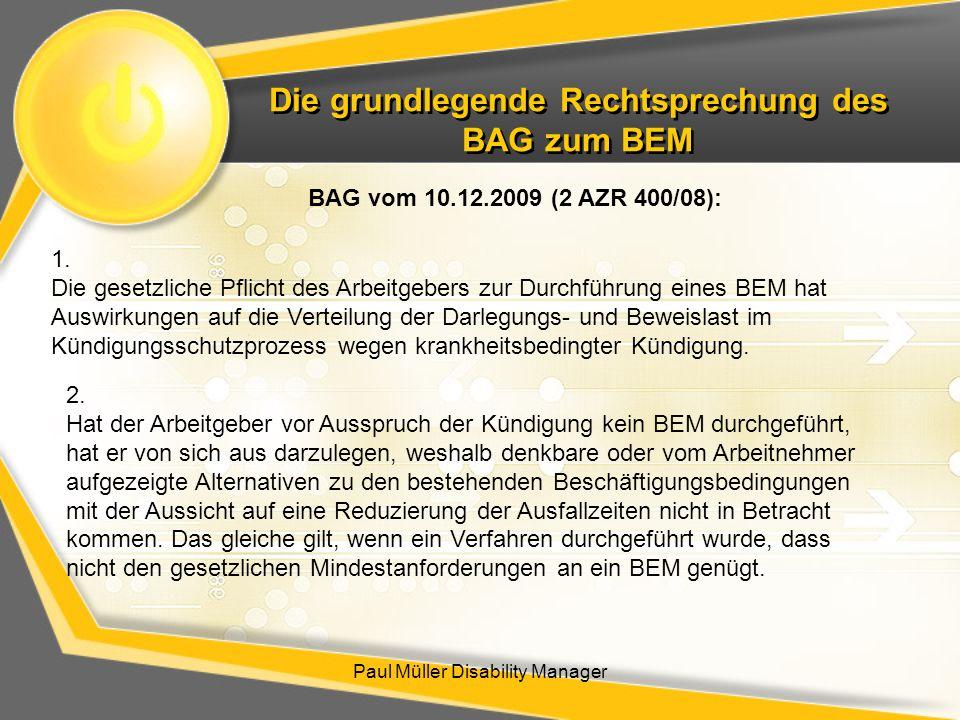Die grundlegende Rechtsprechung des BAG zum BEM