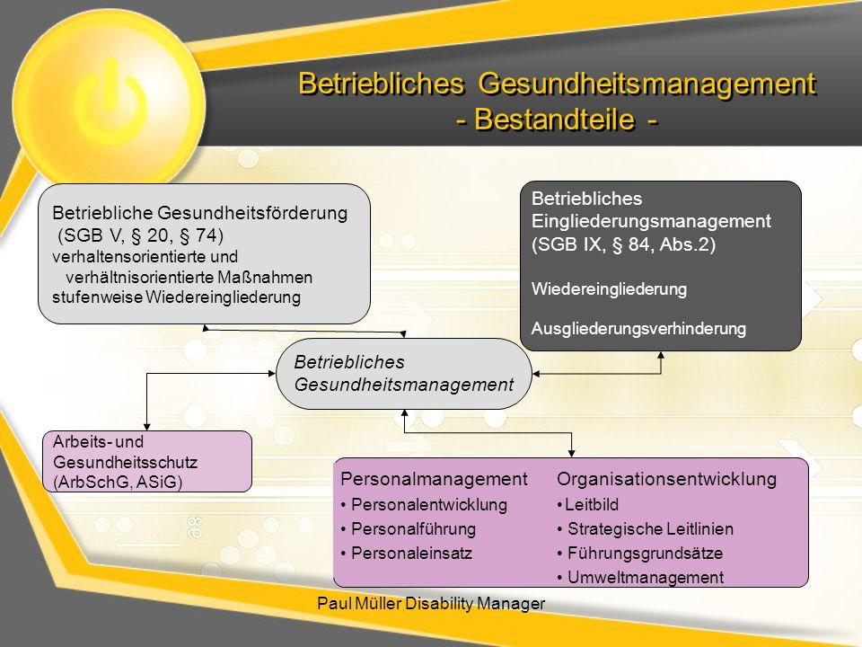 Betriebliches Gesundheitsmanagement - Bestandteile -