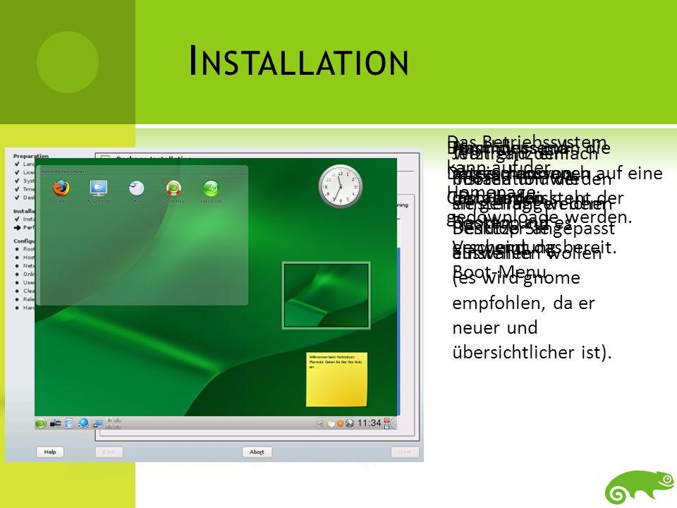 Installation Das Betriebssystem kann auf der Homepage gedownloade werden. Dann muss man die Dateien nur noch auf eine CD brennen.