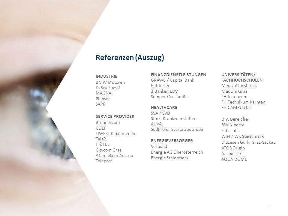 Referenzen (Auszug) INDUSTRIE BMW Motoren D. Swarovski MAGNA Plansee
