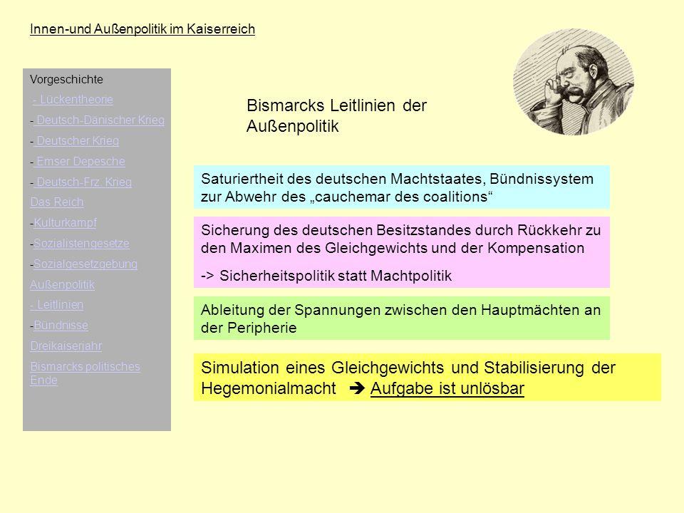 Bismarcks Leitlinien der Außenpolitik