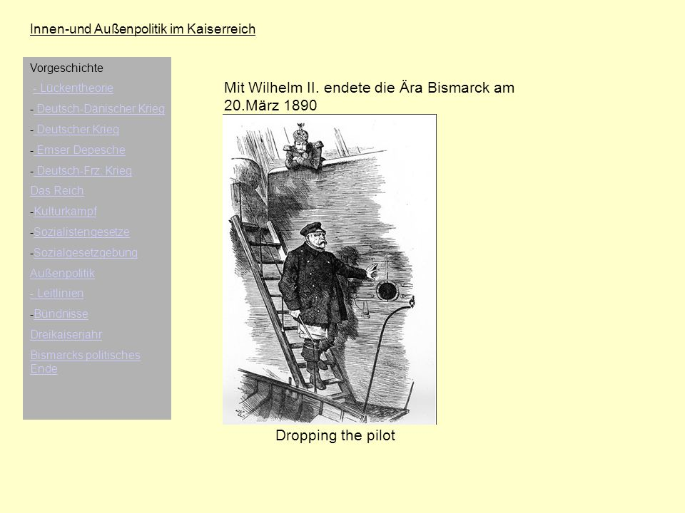 Mit Wilhelm II. endete die Ära Bismarck am 20.März 1890