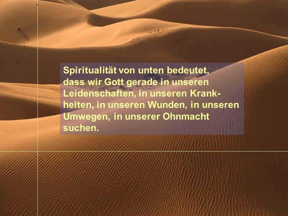 Spiritualität von unten bedeutet, dass wir Gott gerade in unseren Leidenschaften, in unseren Krank-heiten, in unseren Wunden, in unseren Umwegen, in unserer Ohnmacht suchen.