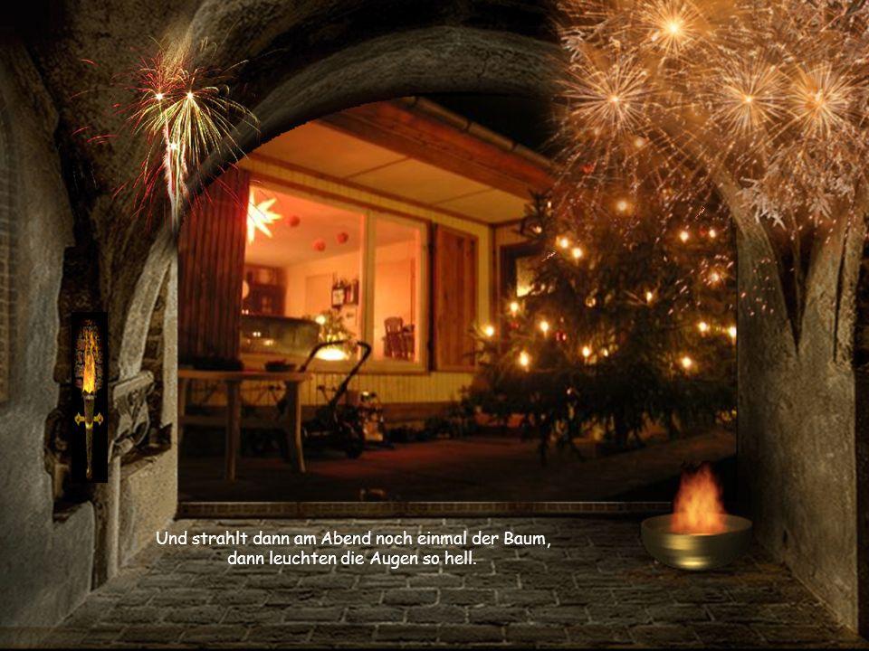 Und strahlt dann am Abend noch einmal der Baum, dann leuchten die Augen so hell.