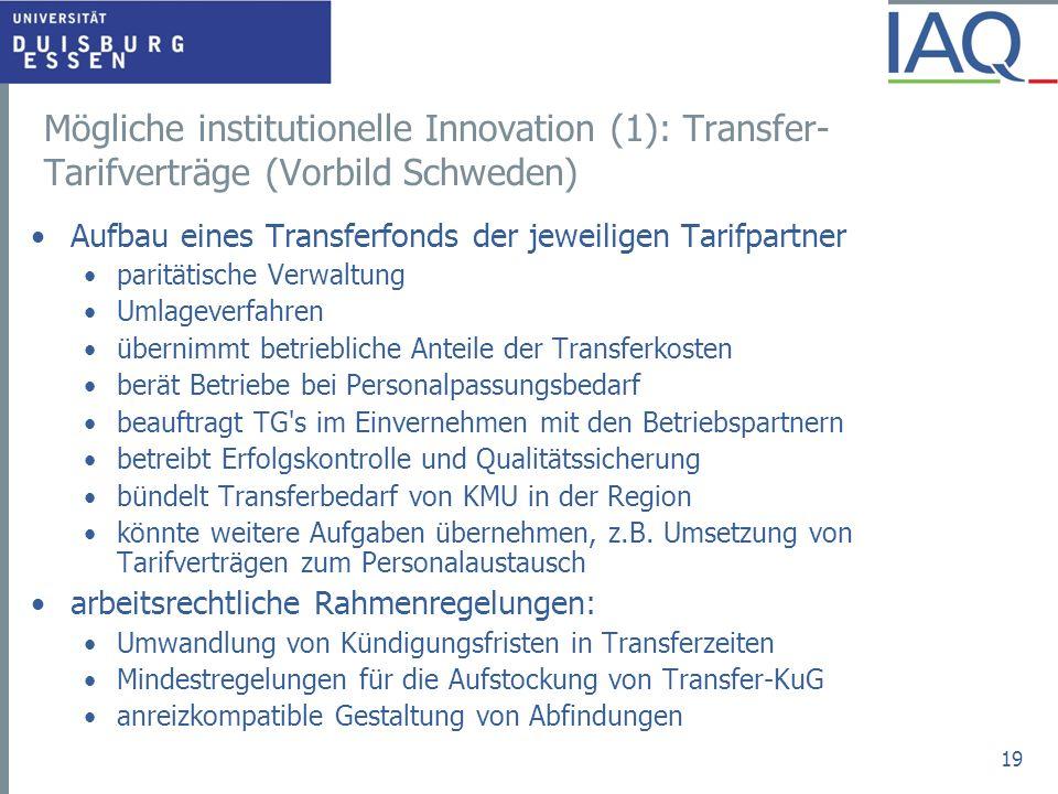 Mögliche institutionelle Innovation (1): Transfer-Tarifverträge (Vorbild Schweden)