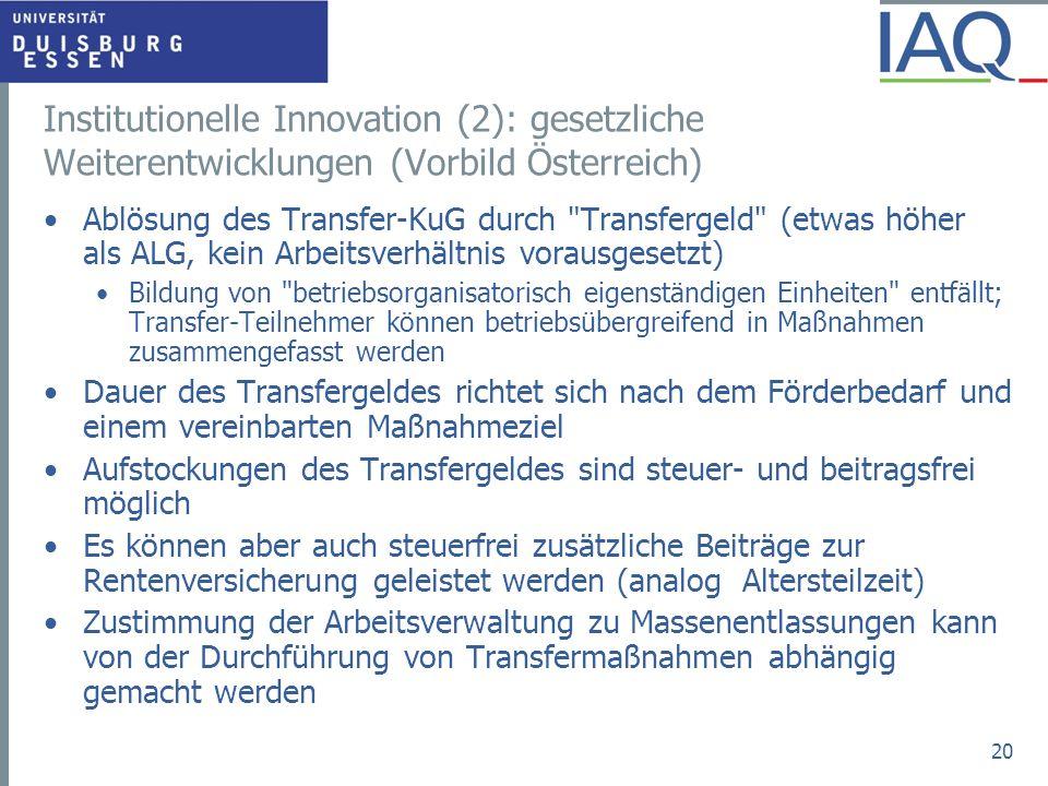Institutionelle Innovation (2): gesetzliche Weiterentwicklungen (Vorbild Österreich)