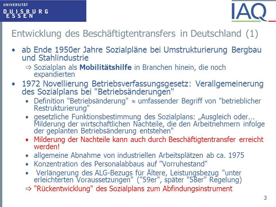 Entwicklung des Beschäftigtentransfers in Deutschland (1)