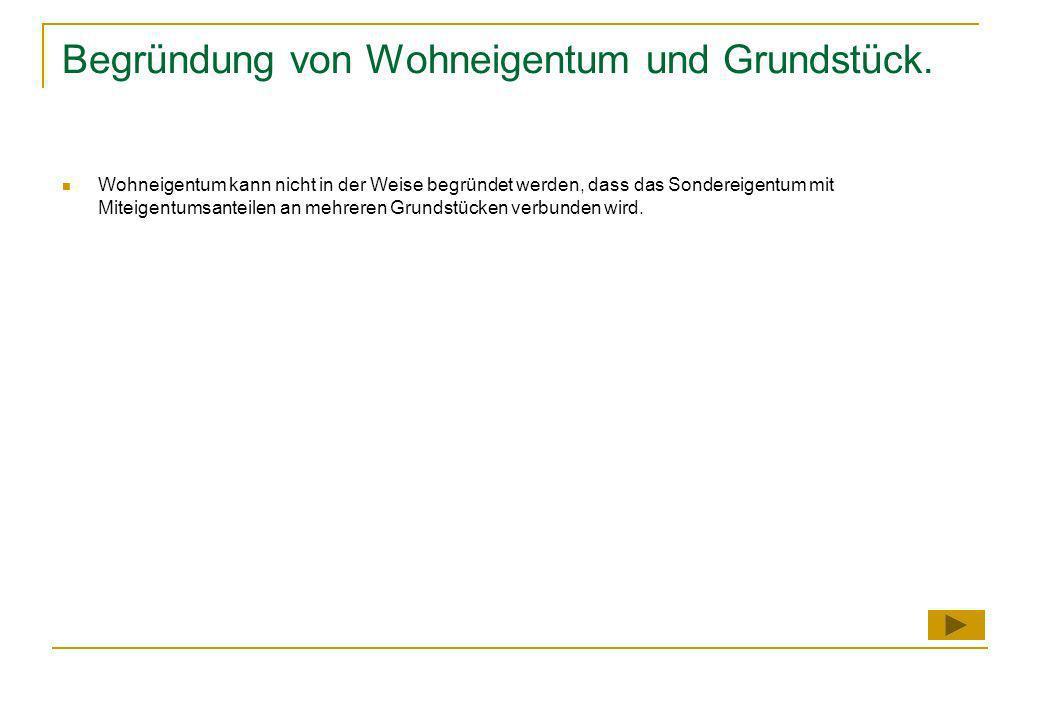 Begründung von Wohneigentum und Grundstück.