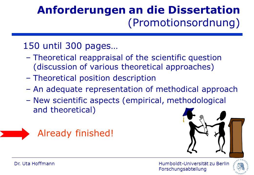 Anforderungen an die Dissertation (Promotionsordnung)