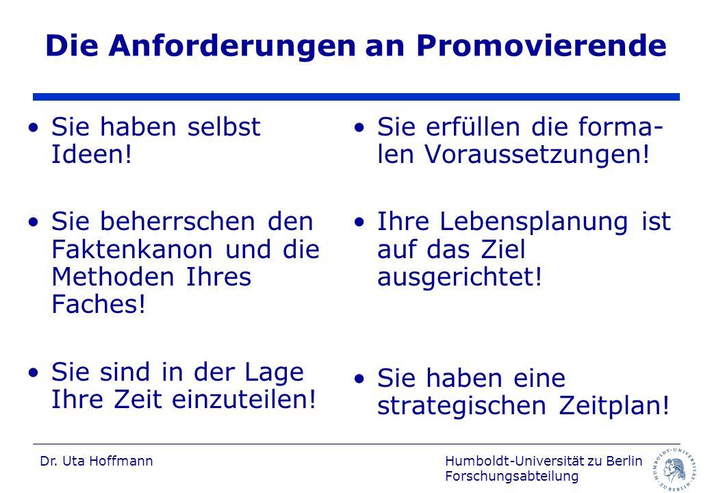 Die Anforderungen an Promovierende