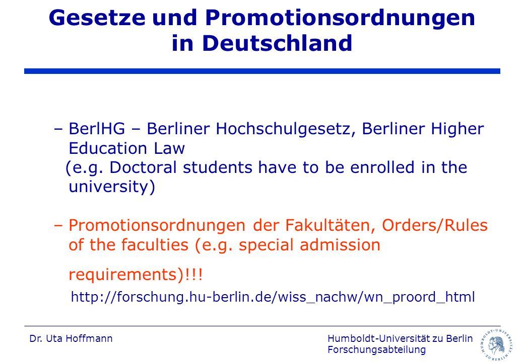 Gesetze und Promotionsordnungen in Deutschland